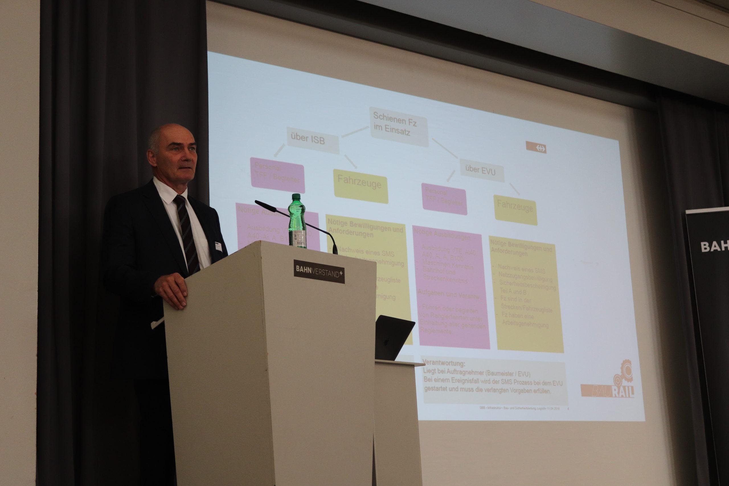 Rudolf Krauer in seiner Rolle als Geschäftsführer der Baurail AG
